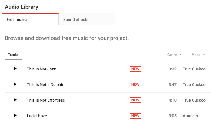 Youtube audio free library